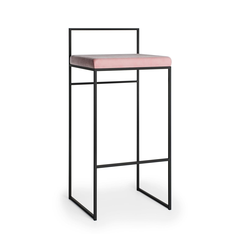Barstuhl mit hoher Rückenlehne, SchwarzMellow Pink Samt
