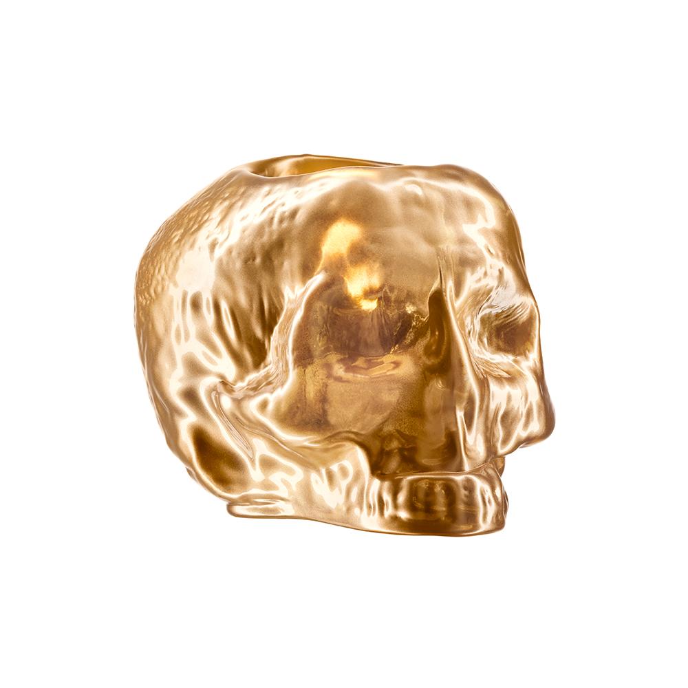 Totenkopf Teelichthalter Gold