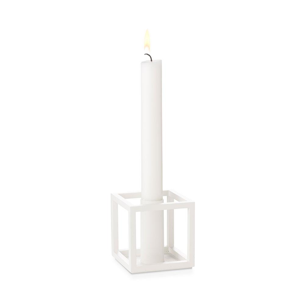 Kubus 1 Kerzenhalter Weiß