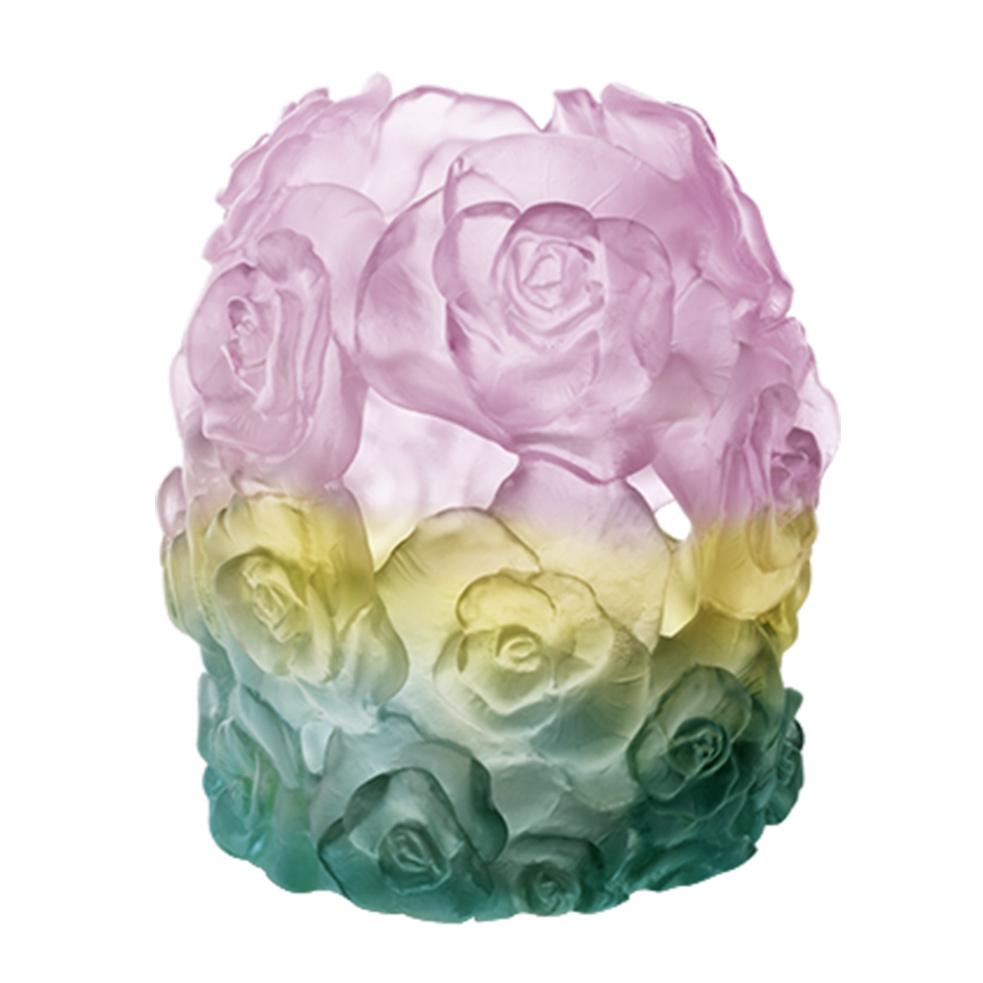 Rose Passion Teelichthalter 16,5cm Grün/Rosa